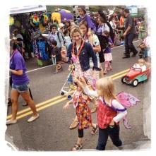 Little girls dress up as fairies.