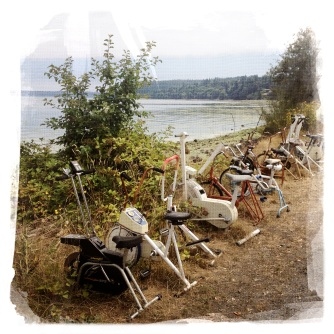 Abandoned exercise cycles at Tramp Harbor.