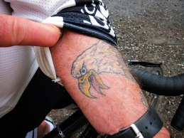 His eagle tatoo.