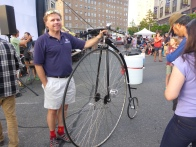 A penny farthing on display.