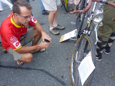 "Bob reads up on the ""Bellingham Express,"" a 1930's era tandem kept in very nice repair."