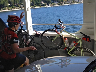Bike rides the ferry.