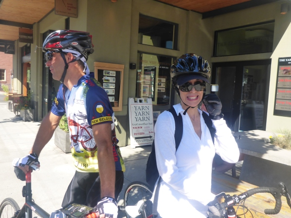 Bob and Dana ready to ride after breakfast.